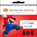 خرید گیفت کارت 10 دلاری نینتندو