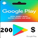 گيفت كارت 200 دلاری گوگل پلی