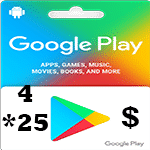 گيفت كارت 25*4 دلاری گوگل پلی