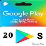 گيفت كارت 20 دلاری گوگل پلی