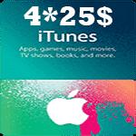 گيفت كارت 4*25 دلاری آيتونز اپل